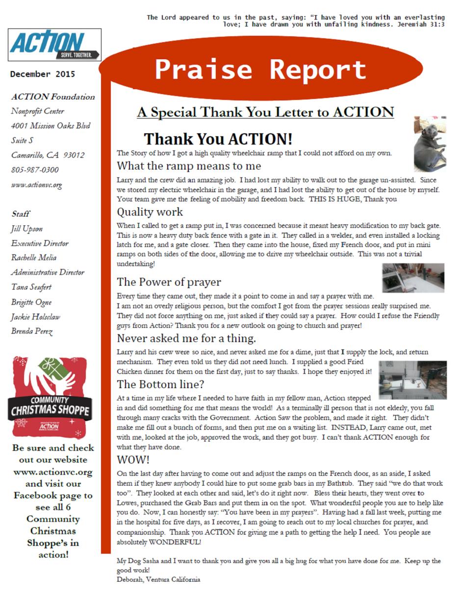 Dec 2015 Praise Report